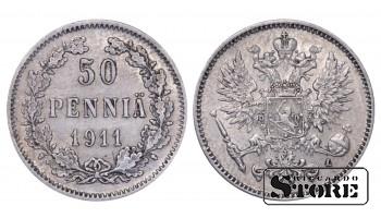 1911 Finland Emperor Nicholas II (1895 - 1917) Coin Coinage Standard 50 pennia KM#2 #F407