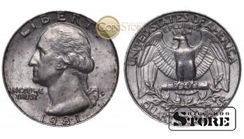 Монеты США , 1/4 доллара - 1981 год P