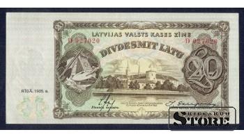 БАНКНОТА , 20 ЛАТ 1935 ГОД - D 027020 XF+/aUNC