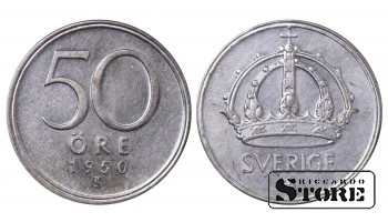 1950 Sweden King Gustav V (1908 - 1950) Coin Coinage Standard 50 Ore KM#817 #SW147