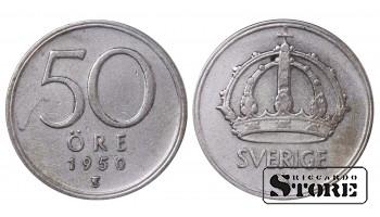 1950 Sweden King Gustav V (1908 - 1950) Coin Coinage Standard 50 Ore KM#817 #SW152