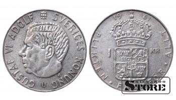 1961 Sweden King Gustaf VI Adolf (1950 - 1973) Coin Coinage Standard 1 Krona KM#826 #SW141