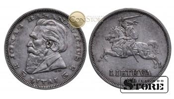 Литва , 5 лит 1936 год , Серебро , 9 г