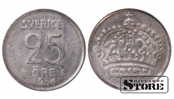 1956 Sweden King Gustaf VI Adolf (1950 - 1973) Coin Coinage Standard 25 Ore KM#824 #SW185