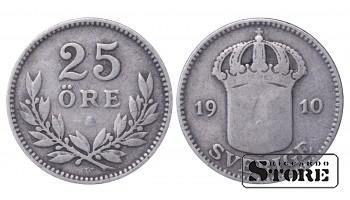 1910 Sweden King Gustav V (1908 - 1950) Coin Coinage Standard 25 ore KM# 785 #29
