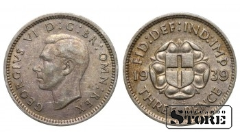 1939 Great Britain UK Coin Silver Ag Coinage Rare 3 Pence KM#848 #UK618