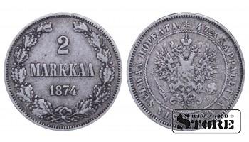 1874 Finland Emperor Nicholas II (1895 - 1917)) Coin Coinage Standard 2 markkaa KM#7 #F339