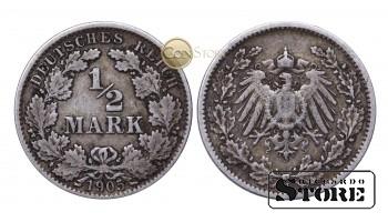 Монета Германия ,  1/2 марки  1905 год , Серебро