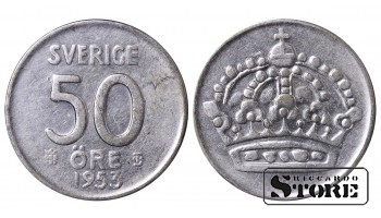 1953 Sweden King Gustaf VI Adolf (1950 - 1973) Coin Coinage Standard 50 Ore KM#825 #SW145