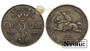 Литва , 5 центов 1925 год , Бронза