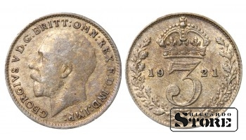 1921 Great Britain UK Coin Silver Ag Coinage Rare 3 Pence KM#813a #UK703