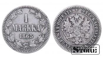 1865 Finland Emperor Nicholas II (1895 - 1917) Coin Coinage Standard 1 markka KM#3 #F366