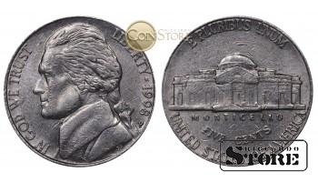 Монеты США , 5 центов - 1998 год P