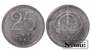 1943 Sweden King Gustav V (1908 - 1950) Coin Coinage Standard 25 Ore KM#816 #SW180