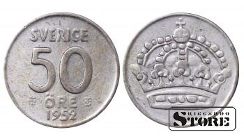 1952 Sweden King Gustav V (1908 - 1950) Coin Coinage Standard 50 Ore KM#825 #SW155