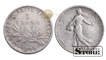 Франция , 1 франк 1898 год , Серебро 5 г , Третья Республика (1870 - 1941)