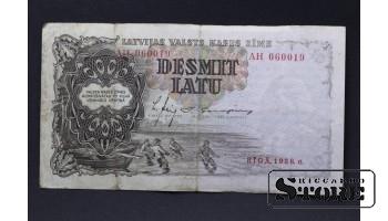 БАНКНОТА , ЛАТВИЯ , 10 ЛАТ 1938 год - AH 060019