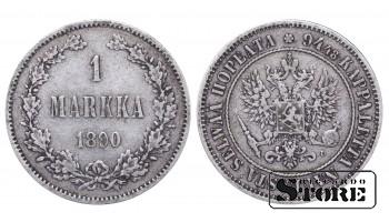 1890 Finland Emperor Nicholas II (1895 - 1917) Coin Coinage Standard 1 markka KM#3 #F354