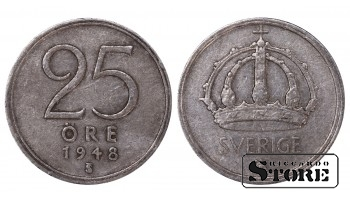1948 Sweden King Gustav V (1908 - 1950) Coin Coinage Standard 25 Ore KM#816 #SW190