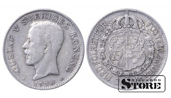 1930 Sweden King Gustav V (1908 - 1950) Coin Coinage Standard 1 krona KM# 786 #12