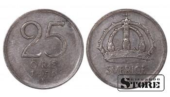 1950 Sweden King Gustav V (1908 - 1950) Coin Coinage Standard 25 Ore KM#816 #SW186