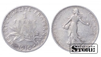 1910 France Third Republic (1870 - 1941) Silver Coin Coinage Standard 1 Franc KM# 844 #60