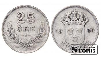 1939 Sweden King Gustav V (1908 - 1950) Coin Coinage Standard 25 ore KM# 785 #32