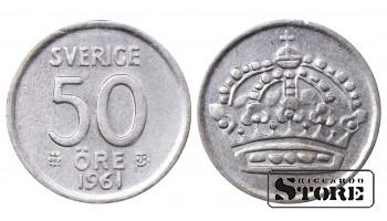 1961 Sweden King Gustav V (1908 - 1950) Coin Coinage Standard 50 Ore KM#825 #SW158