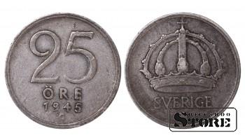 1945 Sweden King Gustav V (1908 - 1950) Coin Coinage Standard 25 Ore KM#816 #SW173