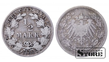1906 Germany German Empire (1871 - 1922) Silver Coin Coinage Standard 1/2 Mark KM# 17 #24