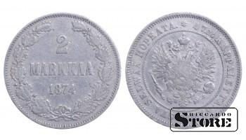 1874 Finland Emperor Nicholas II (1895 - 1917)) Coin Coinage Standard 2 markkaa KM#7 #F341