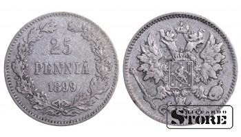 1899 Finland Emperor Nicholas II (1895 - 1917) Coin Coinage Standard 25 pennia KM#6 #F387