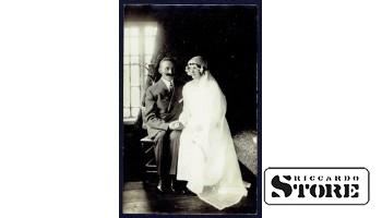 Старинная открытка времён Ульманиса. Супружеская пара