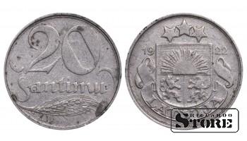 1922 Latvia First Republic (1922 - 1940) Coin Coinage Standard 20 Santimu KM#5 #LV473
