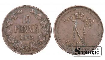 1915 Finland Emperor Nicholas II (1895 - 1917) Coin Coinage Standard 10 pennia KM#14 #F441