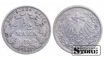 1905 Germany German Empire (1871 - 1922)) Coin Coinage Standard 1/2 mark KM#17 #G325