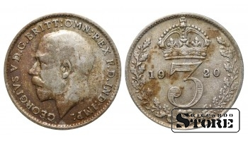 1920 Great Britain UK Coin Silver Ag Coinage Rare 3 Pence KM#813a #UK634