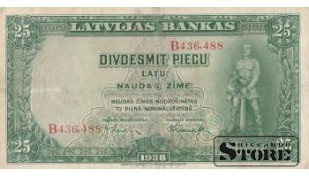 БАНКНОТА , ЛАТВИЯ , 25 ЛАТ 1938 ГОД - B436,488