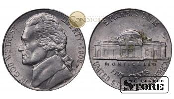 Монеты США , 5 центов - 2002 год P