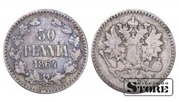 1864 Finland Emperor Nicholas II (1895 - 1917) Coin Coinage Standard 50 pennia KM#2 #F395