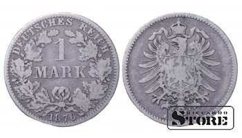 1876 Germany German Empire (1871 - 1922) Silver Coin Coinage Standard 1 Mark KM# 7 #21