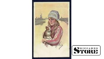 Коллекционная открытка Девочка с котиком