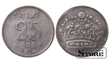1954 Sweden King Gustaf VI Adolf (1950 - 1973) Coin Coinage Standard 25 Ore KM#824 #SW191