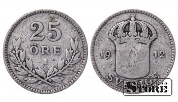 1912 Sweden King Gustav V (1908 - 1950) Coin Coinage Standard 25 ore KM# 785 #59