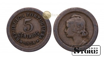 Португалия , 5 центов - 1924 год , Португальская Республика (1911 - 1969)