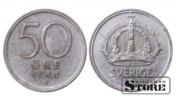 1947 Sweden King Gustav V (1908 - 1950) Coin Coinage Standard 50 Ore KM#817 #SW153