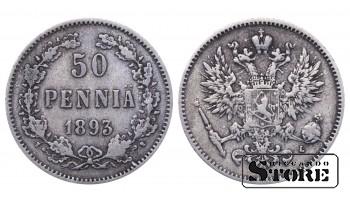 1893 Finland Emperor Nicholas II (1895 - 1917) Coin Coinage Standard 50 pennia KM#2 #F408
