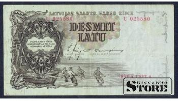БАНКНОТА , ЛАТВИЯ , 10 ЛАТ 1937 - U 025580