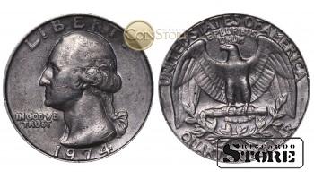 МОНЕТЫ США , 1/4 ДОЛЛАРА - 1974 год