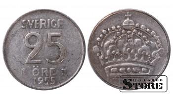 1955 Sweden King Gustaf VI Adolf (1950 - 1973) Coin Coinage Standard 25 Ore KM#824 #SW168
